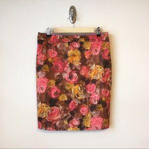 J. CREW | Brown & Pink Rose Floral Pencil Skirt 8
